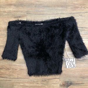 Furry Black Off The Shoulder Crop Top